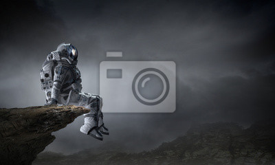 Bild Spaceman in cosmos. Mixed media