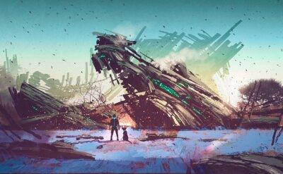 Bild spaceship crashed on blue field,illustration painting