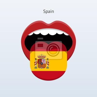 Spanien Sprache. Abstrakt menschliche Zunge.