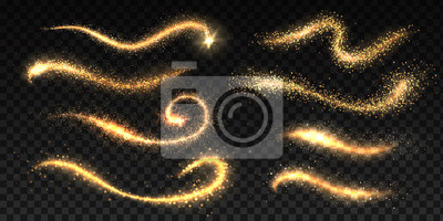 Bild Sparkle stardust. Magic glittering dust waves, golden glowing star trails, Christmas shining light effects. Vector glamour brush set for illustration fairy magic glittering gold image on black