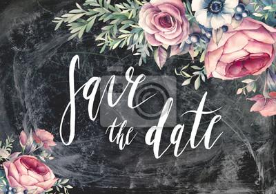 Speichern Sie Die Datumsburstebeschriftung Handgemalte Vintage Stil