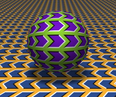 Sphere hovers above the surface. Abstract objects with arrow shapes pattern. Vector optical illusion illustration.