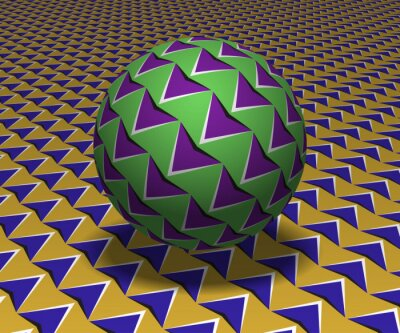 Sphere hovers above the surface. Abstract objects with arrows pattern. Vector optical illusion illustration.