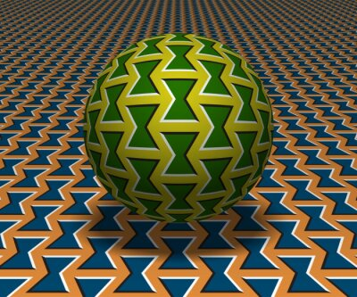 Sphere hovers above the surface. Abstract objects with bow shapes pattern. Vector optical illusion illustration.