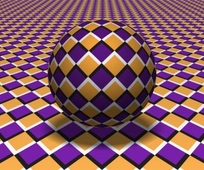 Sphere hovers above the surface. Abstract objects with checkered pattern. Vector optical illusion illustration.