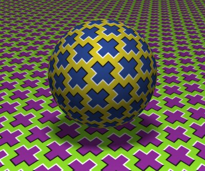 Sphere hovers above the surface. Abstract objects with cross shapes pattern. Vector optical illusion illustration.
