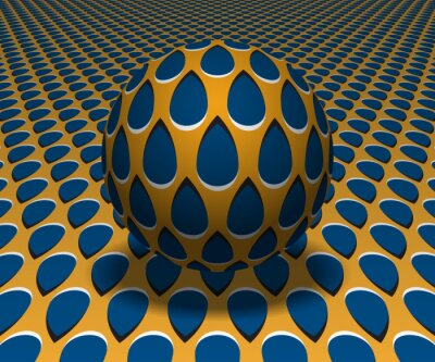Sphere hovers above the surface. Abstract objects with drops pattern. Vector optical illusion illustration.