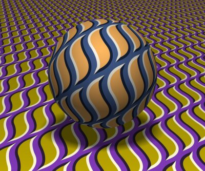 Sphere hovers above the surface. Abstract objects with flame shapes pattern. Vector optical illusion illustration.