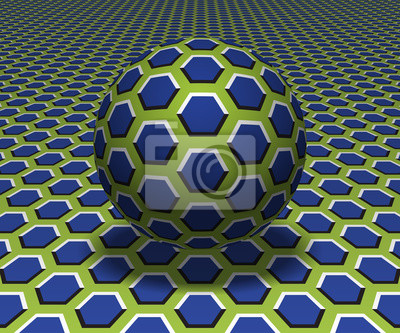 Sphere hovers above the surface. Abstract objects with hexagons pattern. Vector optical illusion illustration.