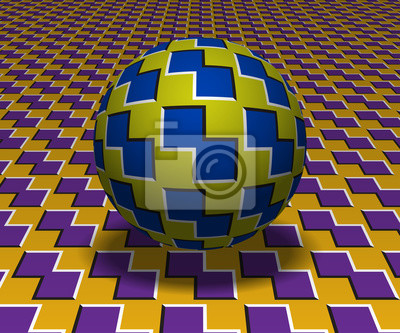 Sphere hovers above the surface. Abstract objects with polygons shapes pattern. Vector optical illusion illustration.