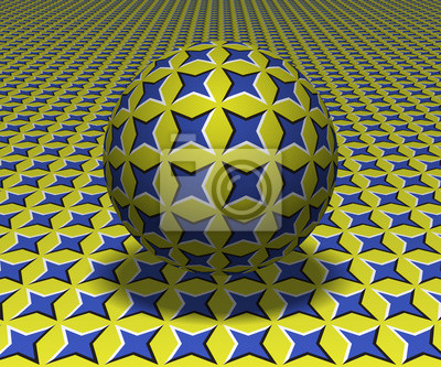 Sphere hovers above the surface. Abstract objects with starry pattern. Vector optical illusion illustration.