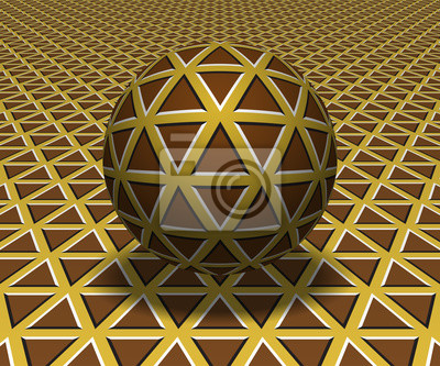 Sphere hovers above the surface. Abstract objects with triangles pattern. Vector optical illusion illustration.