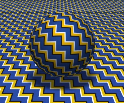 Sphere hovers above the surface. Abstract objects with zigzag stripes pattern. Vector optical illusion illustration.