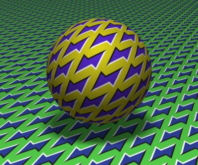 Sphere hovers above the surface. Abstract objects with zipper shapes pattern. Vector optical illusion illustration.