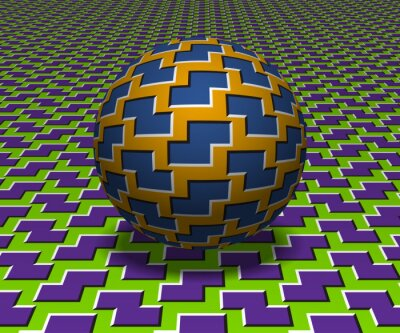 Sphere moves above the surface. Abstract objects with zigzag shapes pattern. Vector optical illusion illustration.