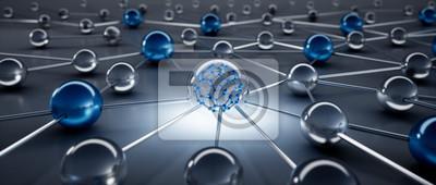 Bild Sphere network structure - abstract design connection design - 3D illustration