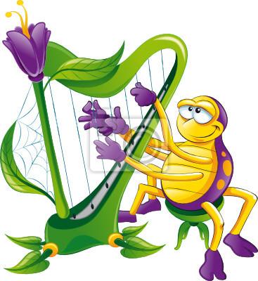 Spinne mit Harfe