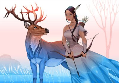 Spirit guides in the nature. Vector fantasy illustration representing an archer elf with deer