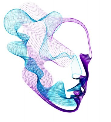 Bild Spirit of digital electronic time, Artificial Intelligence vector illustration of human head made of dotted particles wave lines, particle flow, technological soul of machine.