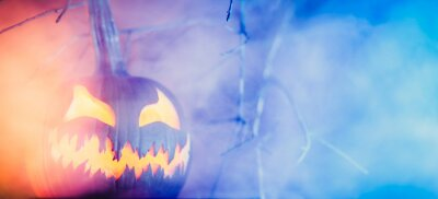 Bild Spooky Halloween jack o lantern pumpkin with carved scary face glowing in fog on Halloween night. Copy space for text.