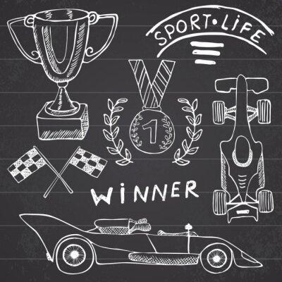 Bild Sport auto Artikel Doodles Elemente. Mit Flag icon set Hand gezeichnet. Karierten Flagge Rennen oder ersten Platz Tasse. Medaille und Aufhellen von Auto, Rennen Vektor-Illustration. Zeichnung doodle S