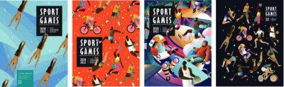 Bild Sport games! Vector illustrations of athletes, swimmers, hockey player, jumper, runner, volleyball, basketball player, soccer player, cyclist, tennis player for poster, banner or cover design.