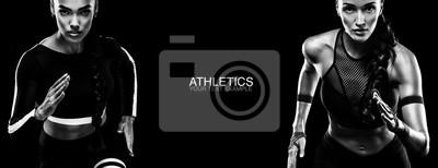 Sport-Konzept. Schwarz-Weiß-Foto. Ein starker athletischer, Frauensprinter, Betrieb lokalisiert auf Schwarzem, tragend in der Sportkleidung, in der Eignung und in der Sportmotivation. Läufer-Konzept.