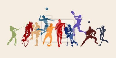 Bild Sports, set of athletes of various sports disciplines. Isolated vector silhouettes. Run, soccer, hockey, volleyball, basketball, rugby, baseball, american football, cycling, golf