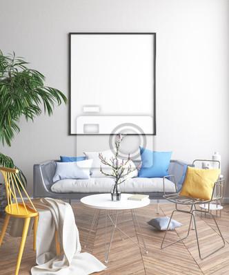 Bild Spott herauf Plakat, skandinavisches Wohnzimmerkonzeptdesign, 3d übertragen