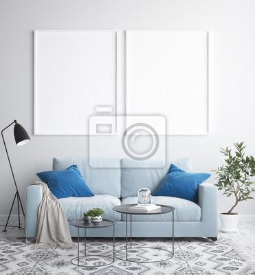 Bild Spott herauf Plakatrahmen im Innenhintergrund, skandinavische Art, 3D übertragen
