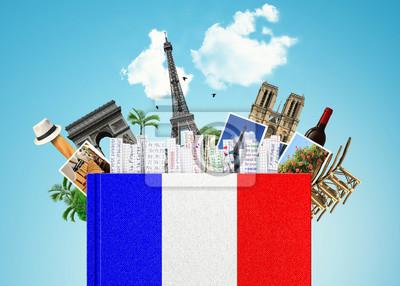 Bild Sprache Französisch, mit dem Französisch-Flag und Lesezeichen das Buch