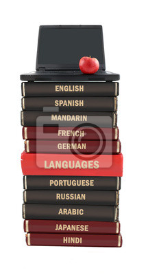 Sprache Text Bücher und Laptop