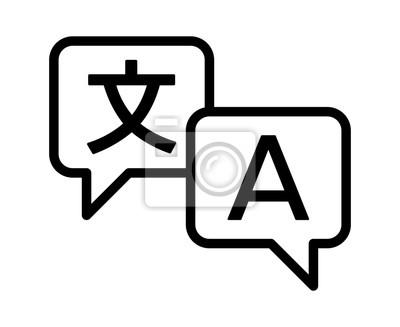 Bild Sprachübersetzung oder übersetzen Service-Line-Art-Vektor-Symbol für Apps und Websites