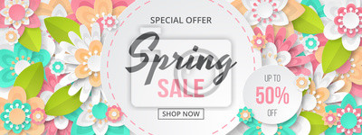 Bild Spring sale banner with beautiful colorful flower. Can be used for template, banners, wallpaper, flyers, invitation, posters, brochure, voucher discount. Vector illustration