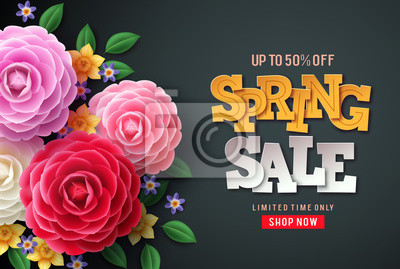 Bild Spring sale vector flowers background. Spring sale text, colorful camellia flowers and crocus flowers in back background for spring seasonal promotion.