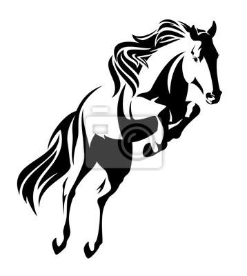 Springen Pferd Schwarz Weiß Vektor Design Leinwandbilder Bilder