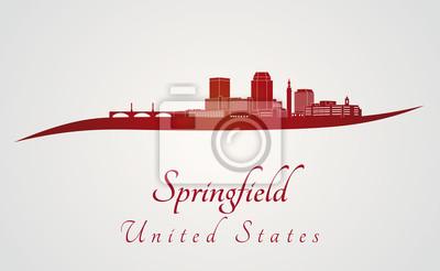 Bild Springfield MA Skyline in rot
