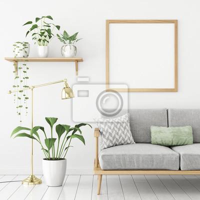 Square poster mock up mit holzrahmen, sofa und grüne pflanzen ...