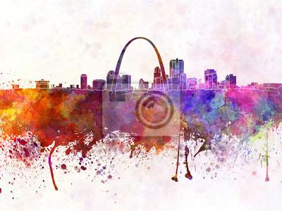 Bild St Louis Skyline in Aquarell Hintergrund
