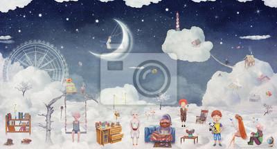 Stadt der Kinder auf den fantastischen Wolken am Himmel