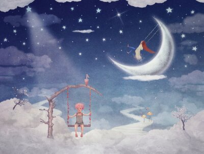 Bild Stadt der Kinder auf fantastische Wolken am Himmel