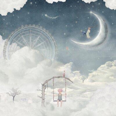 Stadt der Kinder auf fantastische Wolken am Himmel