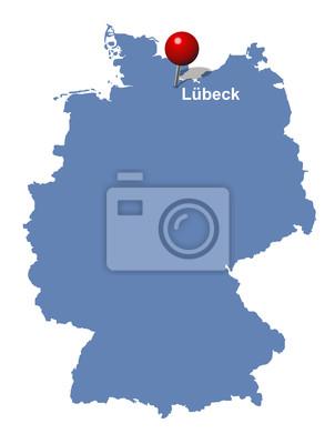lübeck deutschlandkarte Stadt lübeck auf der deutschlandkarte leinwandbilder • bilder
