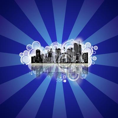 Bild Stadt mit Grunge blauem Hintergrund