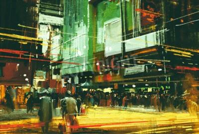 Bild Stadtbild Malerei, Massen von Menschen an einer belebten Kreuzung Straße