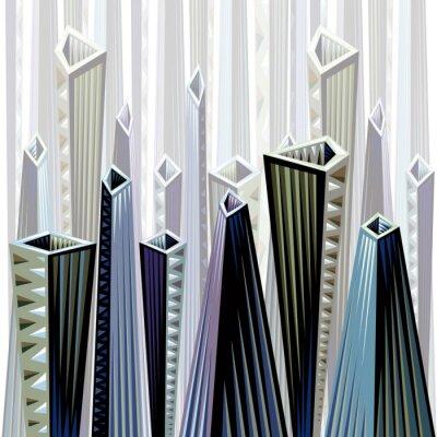 Städtische abstrakte Darstellung in Kubismus vs einheimischen Stil.