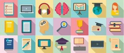 Bild Staff education icons set. Flat set of staff education vector icons for web design