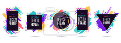 Bild Stain frame with text elements. Grunge paint brush stroke frames, dynamic box for text, modern geometric frame design vector isolated set. Round, triangle, square and rectangular frames with splashes