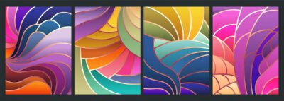 Bild Stained Glass Style Background, Colorful Mosaic Patterns, Wavy Shapes, Gradients and Bright Colors