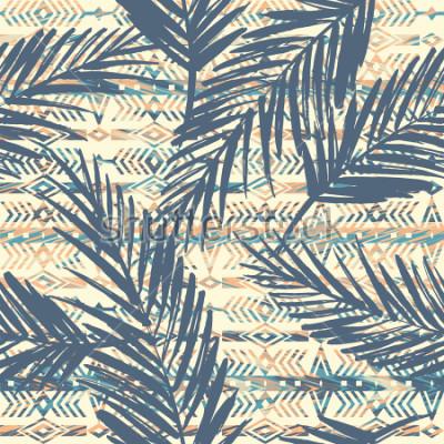 Bild Stammes- ethnisches nahtloses Muster mit Palmblättern. Vektor Hintergrund